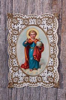 Devotional Picture, Santino, Top Edge, Gold, Jesus, Boy