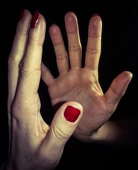 Hand, Hands, Mirror, Reflection, Enamel, Nails, Red