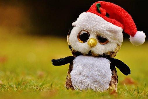 Christmas, Owl, Stuffed Animal, Soft Toy, Santa Hat