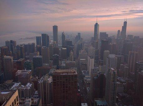 Architecture, Skyline, Sky, Illinois, Street, Sunset