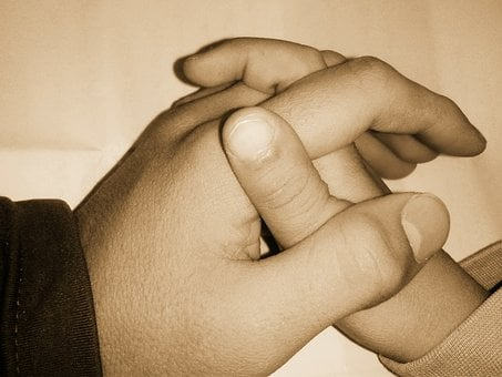 Hands, Holding, Parrent, Child, Support, Handshake