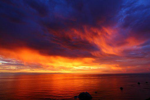 Sunset, The Pacific Ocean, Evening, Cloud, Pattern