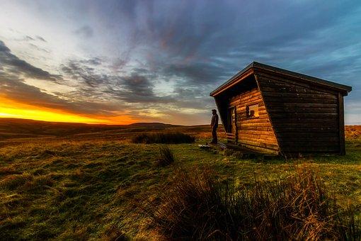 England, Great Britain, Uk, Log Cabin, Hut, Man, Sunset