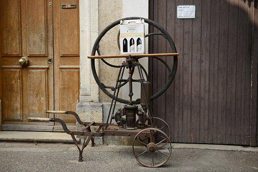 Wine Press, Old, Wheel, Goal, Method, Wine