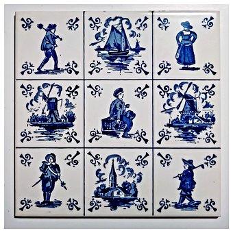 Tile, Motive From Holland, Delft, Ceramic, Art Design