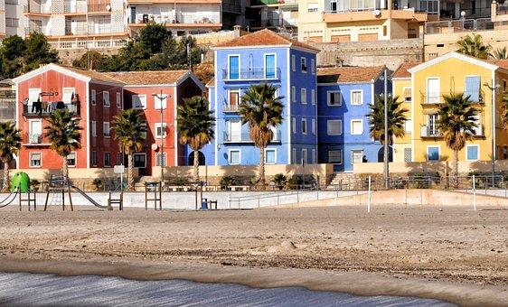 Villajoyosa, Houses, City, Spain, Colors, Beach