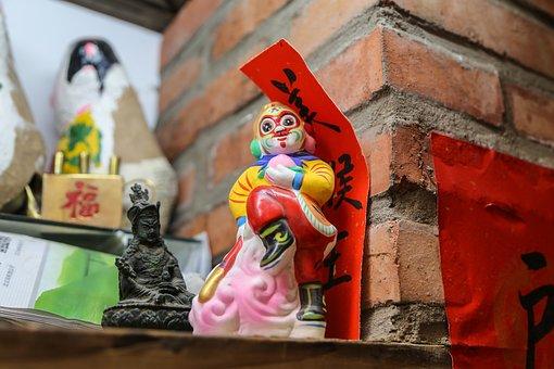 Clay Figurine, Folk Craft, Monkey, Yang Mei Zhu Xie Jie