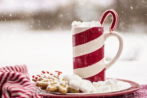 Cocoa, Hot Chocolate, Candy Cane, Mug, Snow, Holiday