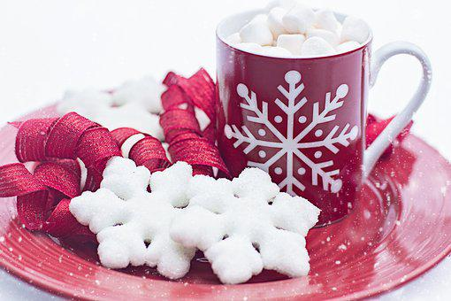 Hot Chocolate, Cocoa, Cookies, Snow, Snowflake, Winter