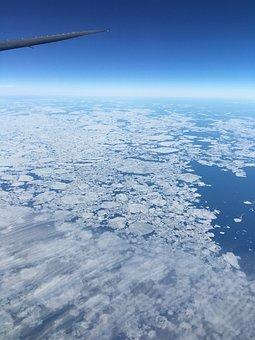 Arctic, Sky, Static, Ice Mountain, Flight, Over, Sea