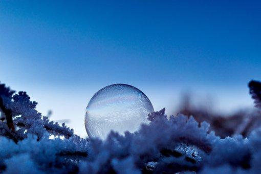 Soap Bubble, Seifenblase Frozen, Ice, Cold, Winter