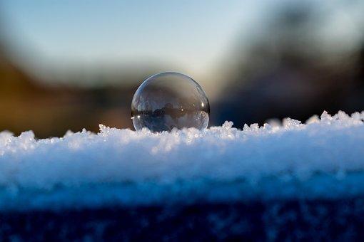 Soap Bubble, Winter, Cold, Blue, Nature, Landscape