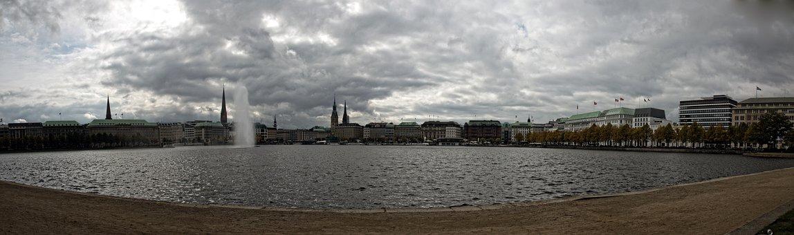 Hamburg, Jungfernstieg, Panorama
