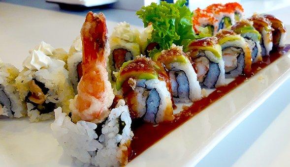 Maki, Prawns, Shrimp, Ginger, Oriental, Japan, Sushi