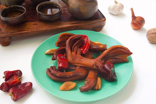 Duck Feet, Snack, Sauce, Red Pepper, Garlic