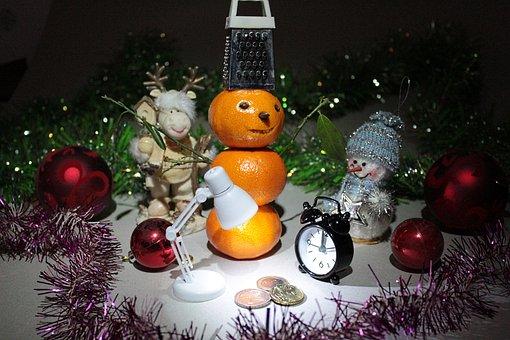 New Year's Eve, Snegovichok, Mandarin, Mini, Balloons