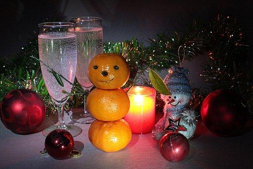 New Year's Eve, Snegovichok, Mandarin, Mini, Candle