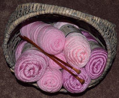 Pink Yarn, Knitting Needles, Basket, Pink, Knitting