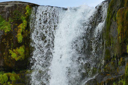 Iceland, Thingvellir, Waterfall, Landscape, Rock