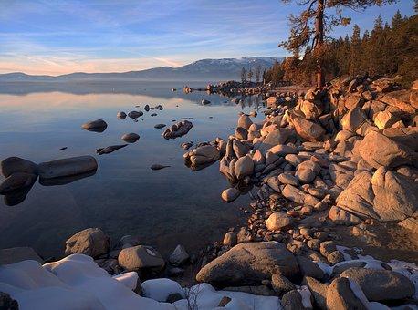 Reflection, Nature, Water, Lake, California, Natural