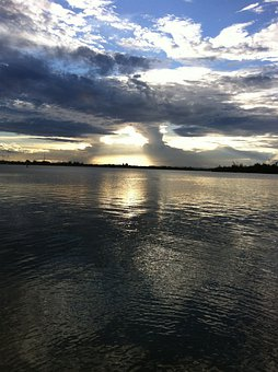 Sunset, Water, River, Nature, Clouds, Sky, Florida