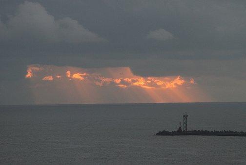 Sunrise, Horizon, Water, Clouds, Sun, Day, Morning