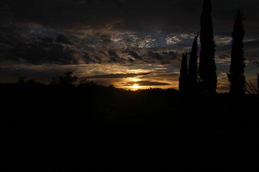 Sunset, Sky, Clouds, Horizin, Yellow, Dawn, View, Light