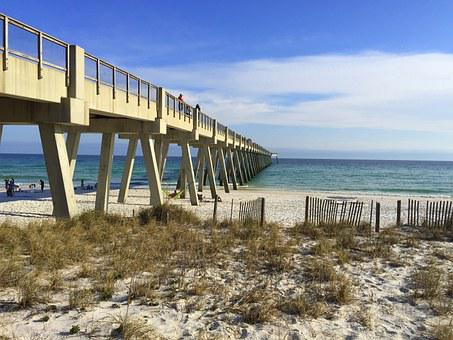 Beach, Ocean, Water, Sea, Pier, Boardwalk, Sky, Florida