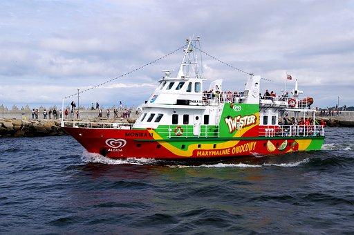 Ship, Boot, Exit, Port, Baltic Sea, Coast, Lake