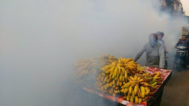 Banana, Smoke, Fog, Food, Ripe, India, Fresh, Vender