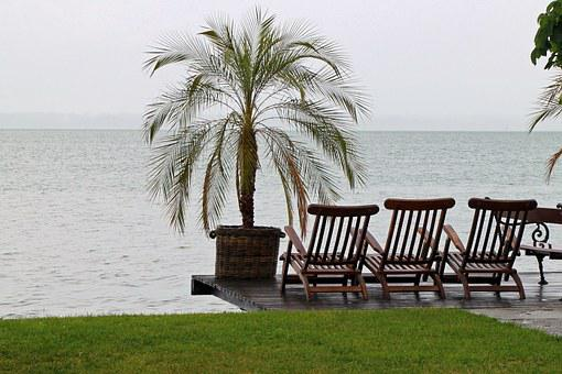 Sun Loungers, Chairs, Seat, Bank, Out, Nature, Lake