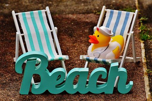 Sun Loungers, Beach, Font, Rubber Duck, Summer, Sun