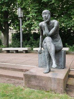 Berlin, Sculpture, Musing, Art Of Ddr