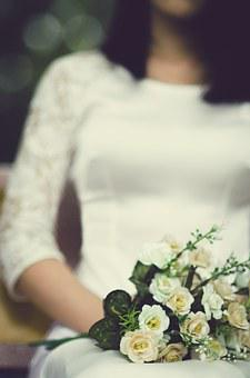 Bride, Bouquet Of Flowers, Roses, Girl, White