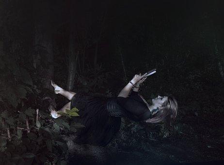 Levitation, Girl, Book, Night, Tree, Stroll, Art, Calm