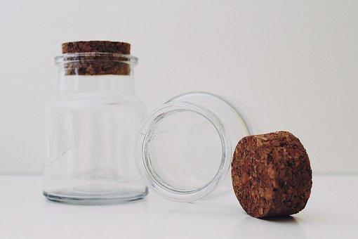 Glass, Bottle, Cork, Empty, Transparent, Decoration