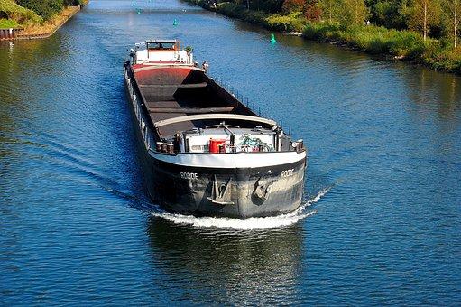 Freighter, Frachtschiff, Channel, Ship