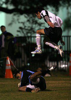 Soccer, Player, Jumping, Game, Action, Leaping