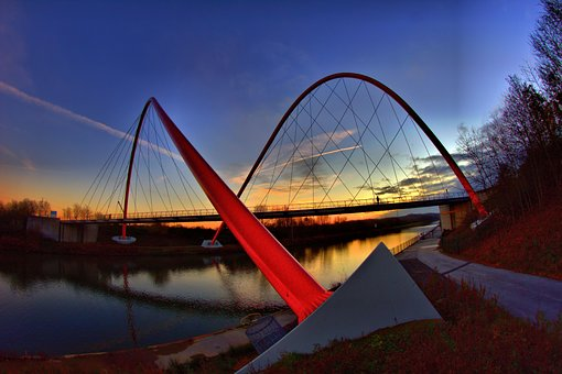 Nordstern Bridge, Gelsenkirchen, Channel, Dusk