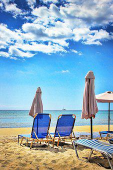 Beach, Sun Lounger, Parasol, Holiday, Sun Loungers