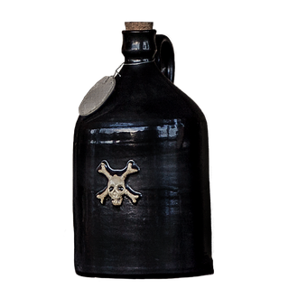 Bottle, Earthenware, Isolated, Pirate, Cork, Black