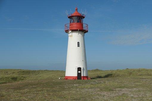 Lighthouse, North Sea, Sylt, Elbow, Island, Wadden Sea