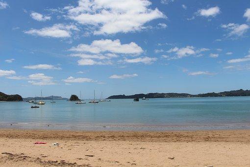 Paihia, New Zealand, North Island, Beach, Landscape