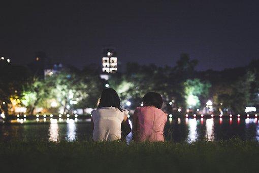 Hanoi, Vietnam, People, Talking, Mother, Daughter, Lake