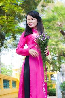 Long Coat, Pink, Girl, Young, Fresh, Vietnam, Shirt