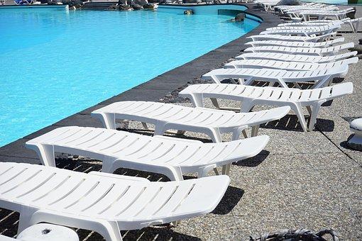 Sun Loungers, Swimming Pool, Pool, Swim, Blue, Water