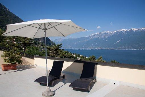 Roof Terrace, Terrace, Hotel, Parasol, Sun Loungers