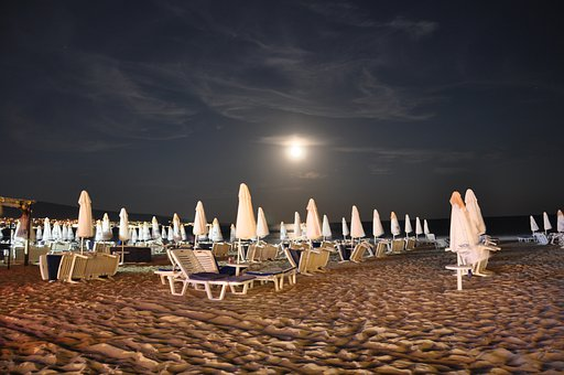 Beach, Sand Beach, Holiday, Sun Loungers, Evening