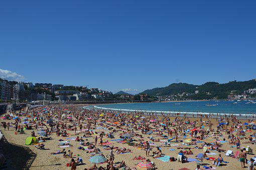 Beach, People, Crowd, Parasol, Sea, Sand, Holiday, Sun