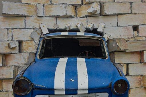 Auto, Trabbi, Wall, Accident, Sculpture, Art, Satellite